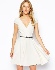 Image 1 ofCloset Deep V Belted Skater Dress -- a dress that would actually work with my boobs.