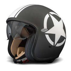 Premier Jet Vintage Helmet - Black / White Star | Open Face Motorcycle Helmets | FREE UK delivery - The Cafe Racer