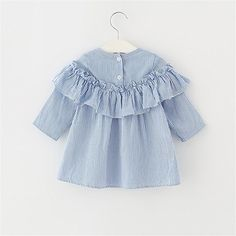 Amazon.com: XUNYU 1-4T Baby Girls Infant Toddler Cotton Striped Long Sleeve Princess Dress Tops, Blue, 2T/3T: Clothing Baby Girl Frocks, Frocks For Girls, Toddler Girl Outfits, Toddler Girl Dresses, Little Girl Dresses, Kids Outfits, Baby Girl Dress Patterns, Baby Dress, Kids Dress Wear