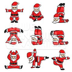 Royalty-free Christmas stock vector illustration of Santa Claus when doing yoga with various movement. Christmas Decals, Christmas Doodles, Christmas Design, Christmas Night, Christmas Humor, Yoga Background, Yoga Cartoon, Yoga Illustration, Yoga For Kids