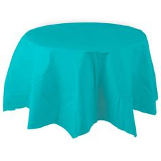 "82"" Bermuda Blue Octy Round Tissue / Poly Tablecover – 12 / Case"