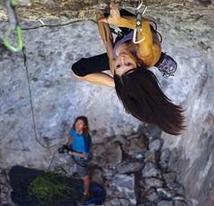 i want to know how she climbs with her hair down... It always seems to get in my face or mouth when I wear it down
