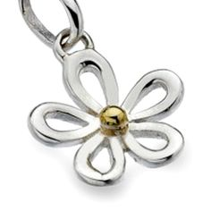 Sterling silver jewellery, Pretty Sterling Silver and Brass Daisy Pendant