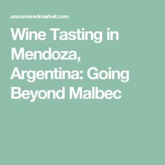 Wine Tasting in Mendoza, Argentina: Going Beyond Malbec