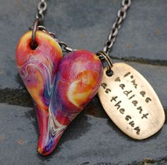Glass Heart Pendant Boro Lampwork Necklace Handmade by Venbead, $45.00