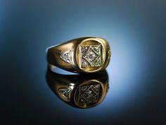 Vintage Diamond Statement Ring! Grosser Ring Gelbgold 585 Diamanten Boston um 1970