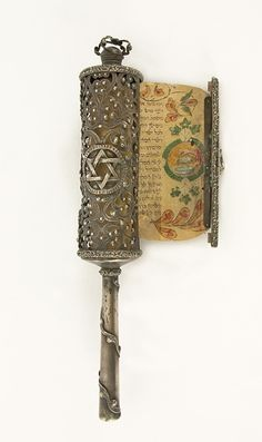 Silver Esther Scroll Case ,Venice, Circa 1888 With Illustrated Esther Scroll, Italy, 18th Century