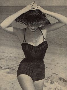 By the beach, c. 1950's <3