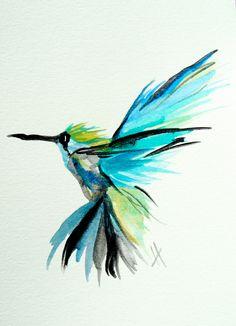Hummingbird, flight, tropical, blue, lime, bright, original watercolor painting 5 x 7. $24.50, via Etsy.