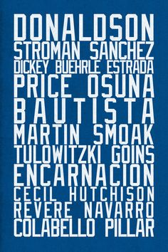 Toronto Blue Jays art print for baseball fans with 2016 roster