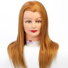 """100% Real Hair 20"""" European style Hair Salon Training Design model Blue Eyes Practice Hairdressing Mannequin Doll   Holder"""