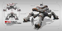 Red Mech by TheUncannyKen on DeviantArt Mecha Suit, Big Robots, Galactic Republic, Game Props, Sci Fi Armor, Ex Machina, Tank Design, Big Guns, Military Gear
