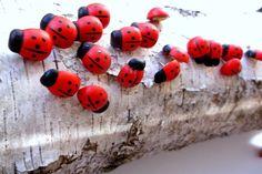 20 Charming Ladybug  Thumb Tacks Push Pins for Office Decor Dorms 5/8 inch #Handmade #Woodland