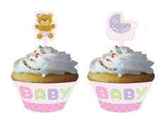 Teddy Baby Pink Cupcake Picks with Wrappers|Fast Shipping|12 per package