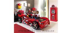 Dětský pokoj pro kluka s motivem aut Racing, Design, Autos, Kid Furniture, Child Bed, Mattress, Red, Running, Auto Racing