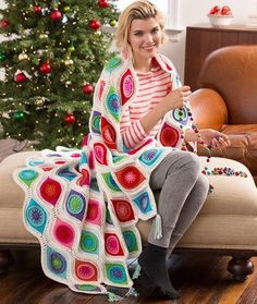 Retro Ornament Pattern Throw | The perfect crochet afghan pattern for Christmas and winter. It looks like it has a bunch of crochet ornaments on it!