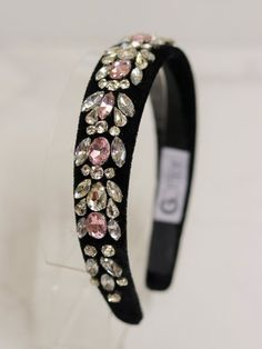 Tiara Velvet Pedrarias Rosa Claire - Hair accessories: buy tiaras for special occasions – G. Jeweled Headband, Rhinestone Headband, Diy Headband, Headbands, Diy Hair Accessories, Women Accessories, Fashion Accessories, Hair Jewelry, Wedding Jewelry