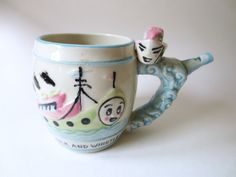 Vintage Whistling Childs Cup or Mug with Boat on Handle Milk and Whistle 1960s Ceramic Collectible Jackpot Jen on Etsy by JackpotJen on Etsy