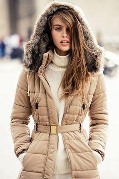 fabulous, neutral, feminine jacket!  Mango Taps Madison Headrick for a Sporty Winter Outing