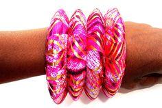 Pink and Gold Ankara  Fabric Bangles Handmade by ZabbaDesigns, $20.00