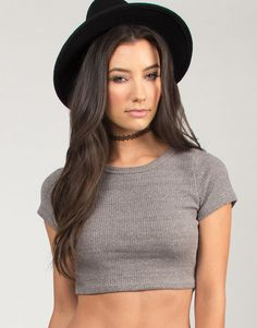 Short Sleeve Ribbed Crop Top - Gray - Large