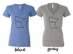 Women's Minnesota Nice fitted v-neck shirt.