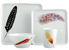 Margaret Berg Art: Fall+Feathers+Dinnerware