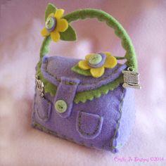 Felt Pincushion  Handbag Design  Lilac lemon by CraftyJoDesigns