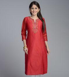 Red Cotton Silk Rose Embroidered Long Kurta