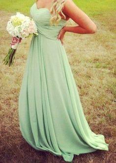 Beautiful long sea foam green bridesmaid dresses