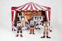 Giochi di carta - Marionette stampabili - The Moustache Circus - un prodotto unico di Marivi-Trombeta su DaWanda