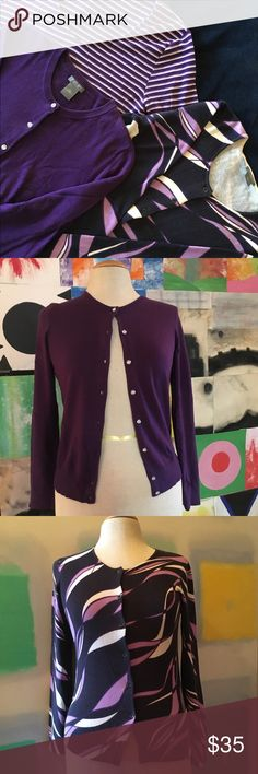 Ann Taylor 3-Purple Bundle Selling as a bundle. All in good condition, no stains, no rips. Fits size Small Petite. 100% cotton.  Bundle includes: Ann Taylor Petite deep purple cardigan with embellished buttons. Size SP; Ann Taylor Petite purple abstract swirl cardigan. Size SP; Ann Taylor purple/white V-neck stripes. Size XS but runs big, more of a size S. Ann Taylor Sweaters Cardigans