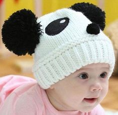 Adorables modelos de gorros tejidos de panda para tu bebé 4dd01d39eae