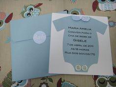 Convite para chá de bebê para menino com envelope e lacre. R$ 5,00