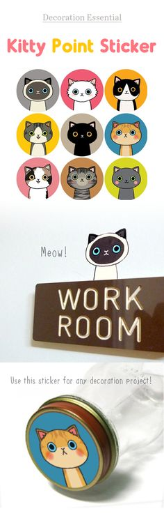 Meow! These kitty stickers are just super cute and adorable! You can use these stickers for any decoration project. You can also cut out the background of the stickers and use the kitty illustration only too ^.^
