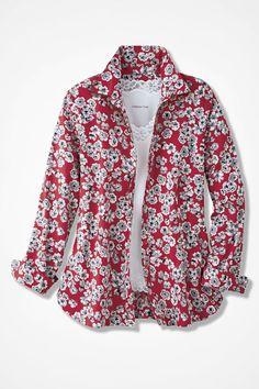 Vintage Floral Print Easy Care Shirt - Coldwater Creek