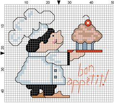 Bon Appitit Counted Cross Stitch Bib by Berwickbay on Etsy, $1.00