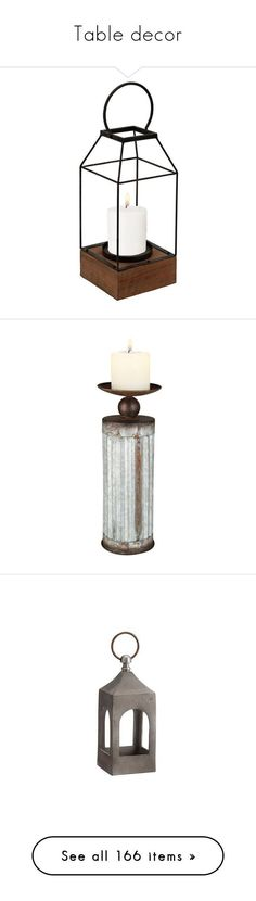 """Table decor"" by bleucabbage ❤ liked on Polyvore featuring home, home decor, candles & candleholders, metal candlestick holders, vintage style home decor, metal lanterns, metal home decor, metal candle holders, metal and pottery barn"