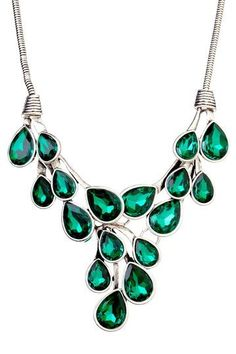 Real Green Emerald Stone Beaded Necklace Gold, Rose Gold, or Silver