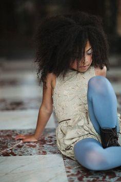 Lilla Grey - jacquard & blue Lace dress, color tights, combat boots