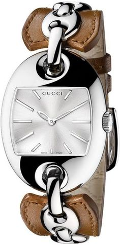 GUCCI Swiss Marina Chain Camel Leather Bangle Bracelet 33x43mm #bijoux, #bijouxfantaisiefemme, #montresfantaisies, #montresfemme