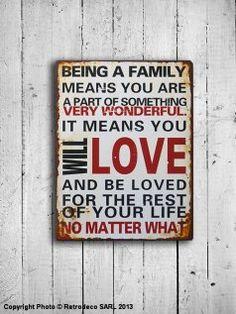 Plaque décorative Being a family, déco rétro, Retrodeco