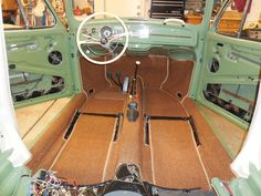 Volkswagen bug Agave green (project) carpet sewfine Volkswagen Karmann Ghia, Volkswagen Bus, Vw Variant, Vw Super Beetle, Willys Wagon, Vw Engine, Vw Parts, Vw Vintage, Car Upholstery