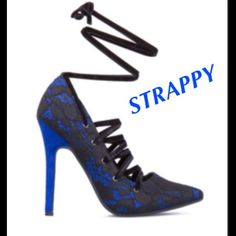 NWT Fun & fabulous lace up heels Just Fab heels from Shoedazzle.  Funky lace up soft velvety laces make this shoe like none other. NWT and box. Runs a little small. JustFab Shoes Heels