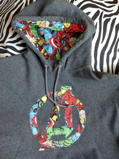 Adult's Superhero: Avengers sweatshirt  with LINED HOOD-- Personalization Available.