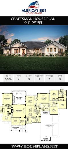 Craftsman House Plan 2019 With 3366 sq. Plan offers 4 bedrooms bathrooms a media room split bedroom layout and a 3 car garage. The post Craftsman House Plan 2019 appeared first on House ideas. House Plans One Story, Best House Plans, Dream House Plans, House Floor Plans, My Dream Home, Dream Houses, House Plans With Pool, House Design Plans, Farm Houses