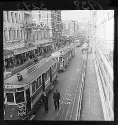 A tram jam in Willis Street, Wellington... 1956