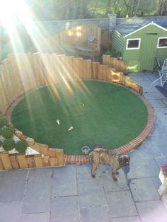Circular artificial lawn / railway sleepers/ raised beds