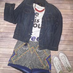 Casual Aztec shorts Size 14 super stretchy.  Some what of a high waist shorts. Zips in the back Shorts