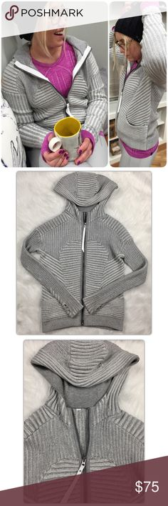 Lululemon Embrace Knit Scuba Hoodie This is the sought after Embrace knit scuba hoodie!  Gorgeous knit design with large logo at the chest. Hand warmer pockets, thumb holes, soft cotton lined heavy oversized hood. Hip length. Gently preowned with years of life left! lululemon athletica Tops Sweatshirts & Hoodies